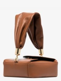 The Sant Brown Mini Kinchaku Leather Box Bag / petite top handle bags