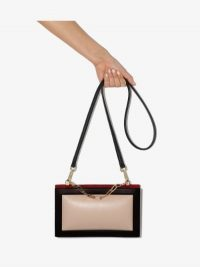 The Sant White And Black Zabuton Frame Leather Shoulder Bag ~ chic bags