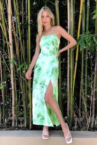 NASTY GAL Tie Dye Halter Neck Split Leg Maxi Dress – halterneck dresses