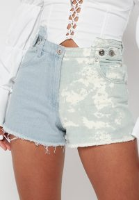 Manière De Voir TIE DYE SPLIT DENIM SHORTS – LIGHT BLUE
