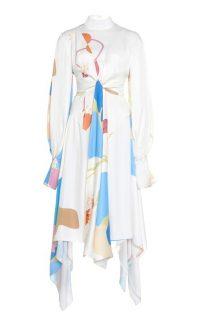 MATÉRIEL Tie-Detailed Prompts-Print Crepe Midi Dress