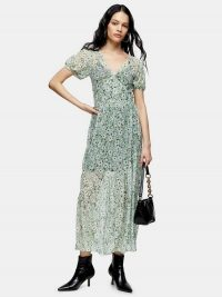 Topshop Daisy Mesh Midi Dress – Green