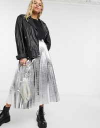 Topshop faux leather pleated midi skirt in silver | metallic fashion