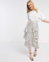 Topshop sequin midi skirt in silver / sequinned tiered skirts