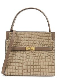 TORY BURCH Lee Radziwill Small Double taupe leather top handle bag / croc embossed handbag