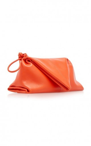 Bottega Veneta Triangle Orange-Leather Pouch