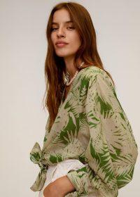 MANGO KAI Tropical print blouse green