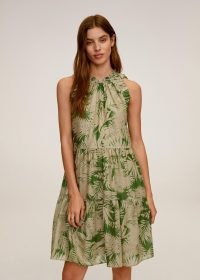 MANGO KAI Tropical print dress | green ruffle trim dresses