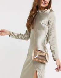True Decadence Exclusive rose gold square box clutch bag with detachable strap   metallic evening bags