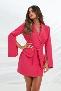 LAVISH ALICE utility eyelet belt tailored dress in bright pink – blazer dresses