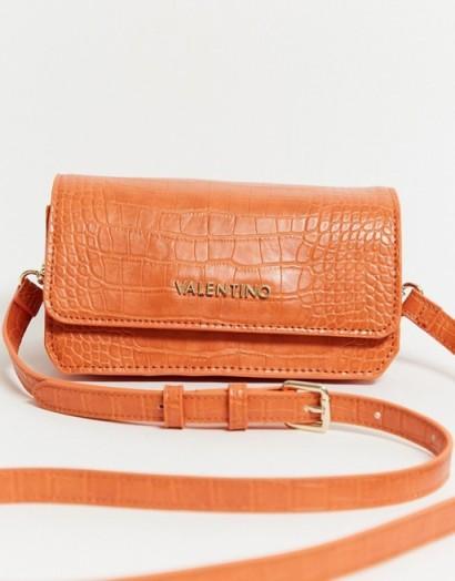 Valentino by Mario Valentino Summer Memento cross body bag in orange croc
