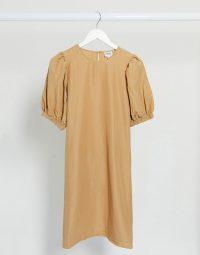 Vero Moda Aware wrap mini dress with puff sleeves in tan