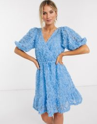 Vero Moda textured mini dress with puff sleeves in blue