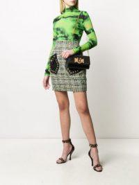 VERSACE studded tweed mini skirt