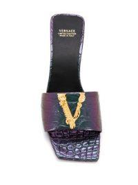 Versace Virtus purple croc embossed mules