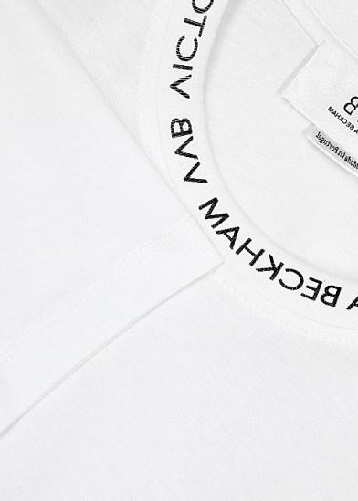 VICTORIA, VICTORIA BECKHAM White logo-print cotton T-shirt / classic short sleeve tee - flipped