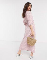 Vila maxi wrap dress in pink check