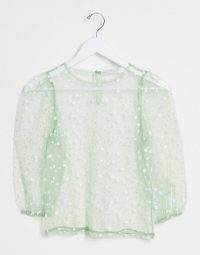 Vila sheer organza top with puff sleeves in green – spot print tops