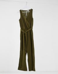 Vila wrap detail jumpsuit in green – dark green jumpsuits