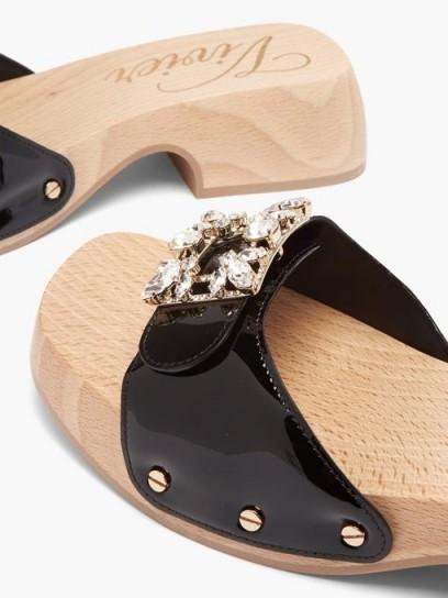 ROGER VIVIER Viv patent-leather clog slides ~ casual summer glamour
