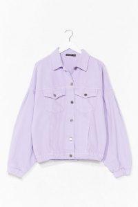 NASTY GAL Volume Sleeve Denim Jacket Lilac