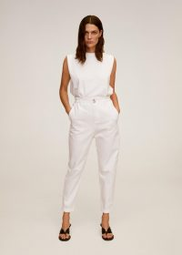 MANGO PATRICIA Waist straight Slouchy jeans off white