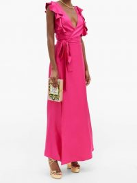 LA DOUBLEJ Wedding Guest ruffled silk-twill dress ~ pink summer event dresses