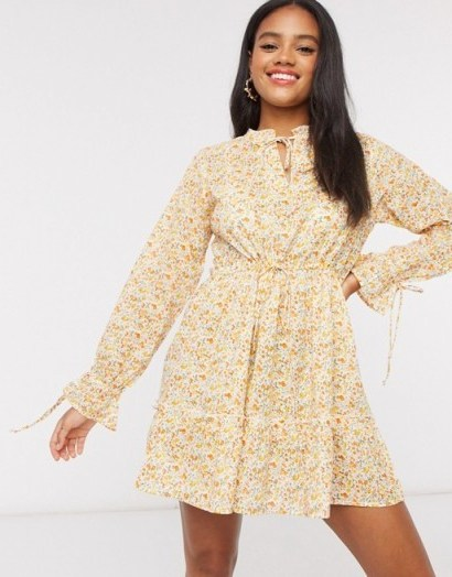 Wednesday's Girl mini smock dress with tie front in vintage yellow floral - flipped