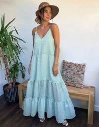 Weekday Junko tiered maxi dress in light green