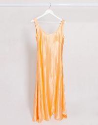 Weekday Noemi satin midi dress in neon apricot