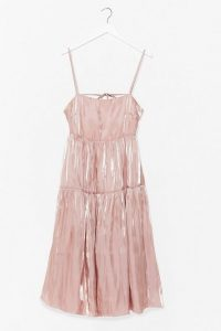 NASTY GAL What Do You Sheen Tiered Midi Dress in Blush