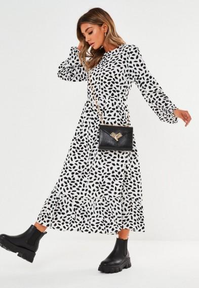 MISSGUIDED white dalmatian print ruffle hem midi smock dress