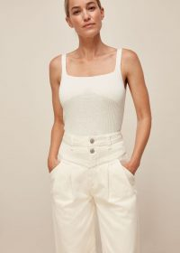Whistles INDIA PLEAT DETAIL JEAN | white pleated jeans