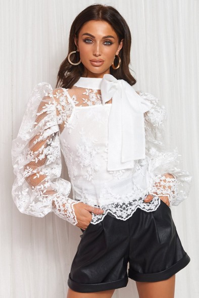 The Fashion Bible WHITE LACE PUSSY BOW BLOUSE | sheer blouses