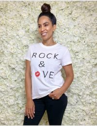 FOREVER UNIQUE White 'Rock & Love' Tee-Shirt / slogan tee