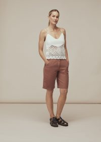 Whistles STRAPPY CROCHET KNIT TOP | white knitted camisole