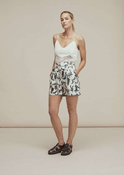 Whistles LIMITED EDITION SUBRINA PRINTED SILK SHORT | botanical print shorts - flipped