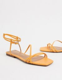 Who What Wear Ivy spaghetti strap flat sandals in yellow leather iceland poppy