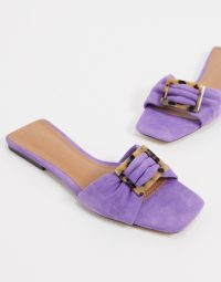 Who What Wear Margaruite buckle flat sandals in purple leather fairy wren