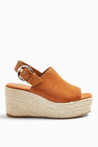 TOPSHOP WILD Rust Leather Wedge Sandals / chunky wedged slingback