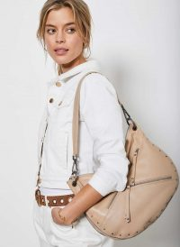 MINT VELVET Winnie Camel Stud Shoulder Bag | luxury look studded handbag