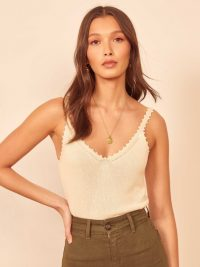 Reformation Wisteria Top Almond | neutral knitted tank tops
