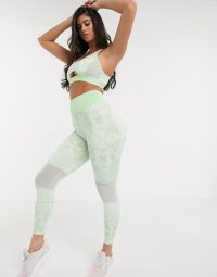 Wolf & Whistle Eco set with bra and leggings in green geometric print