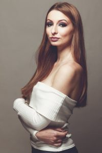 Beautiful long straight hair and white off-shoulder top