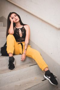 Yellow jogging pants and black lace top – urban style