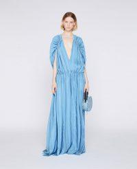 STELLA McCARTNEY Rosa Midi Dress in cameo blue ~ daring plunge neck maxi dresses