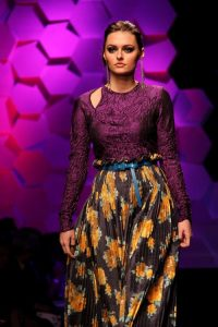 Purple, Yellow, and Black Floral Long-sleeved Dress