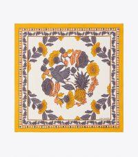 TORY BURCH WONDERLAND VINE NECKERCHIEF Yellow / flower print silk twill scarves