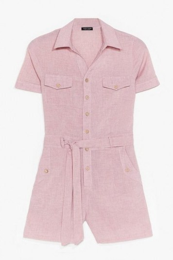 NASTY GAL Work From Home Belted Romper Dusky Pink / utility playsuit - flipped
