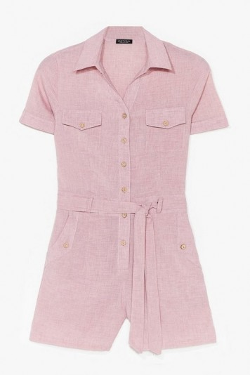 NASTY GAL Work From Home Belted Romper Dusky Pink / utility playsuit